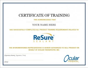 Training Certificate Screenshot
